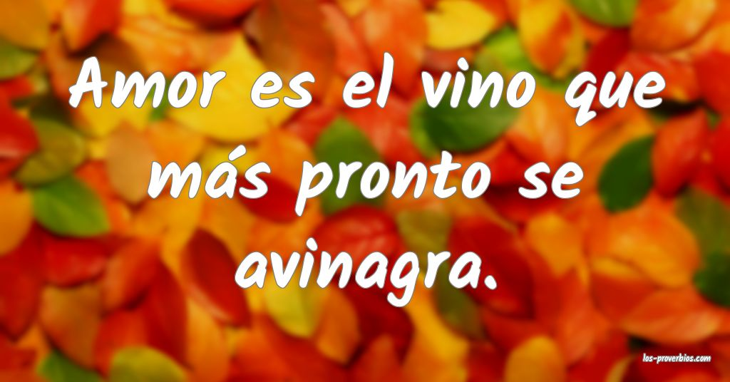 Amor es el vino que más pronto se avinagra.