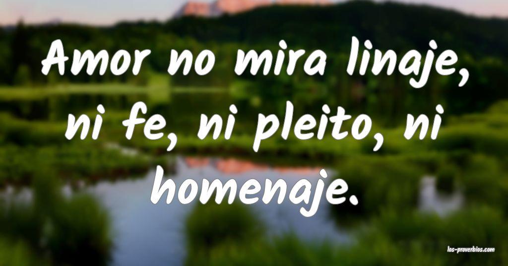 Amor no mira linaje, ni fe, ni pleito, ni homenaje.
