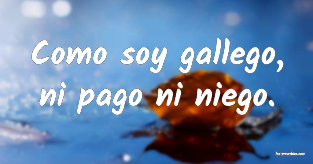 Como soy gallego, ni pago ni niego.