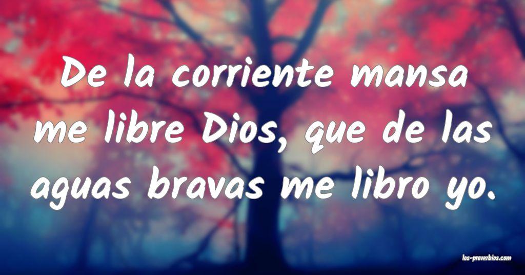 De La Corriente Mansa Me Libre Dios Que De Las Aguas Bravas Me L