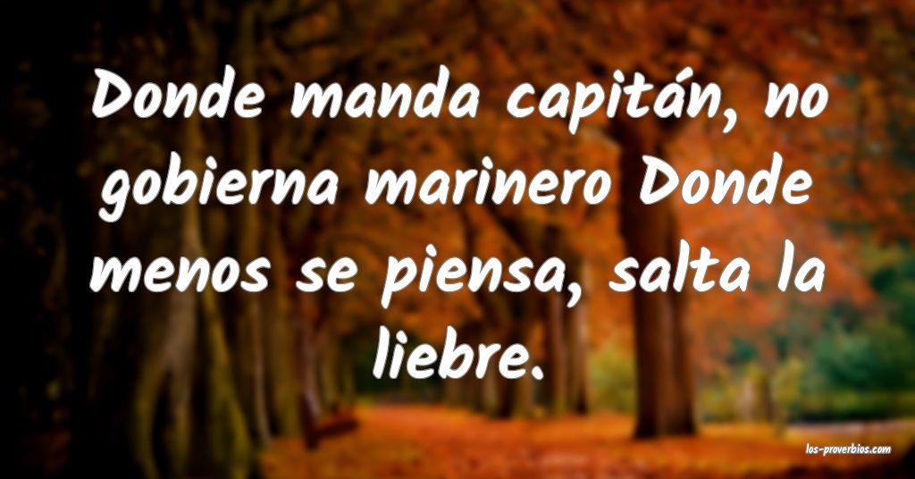 Donde manda capitán, no gobierna marinero Donde menos se piensa, salta la liebre.