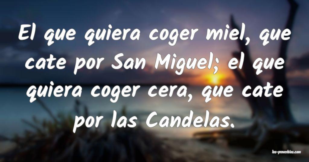 El que quiera coger miel, que cate por San Miguel; el que quiera coger cera, que cate por las Candelas.