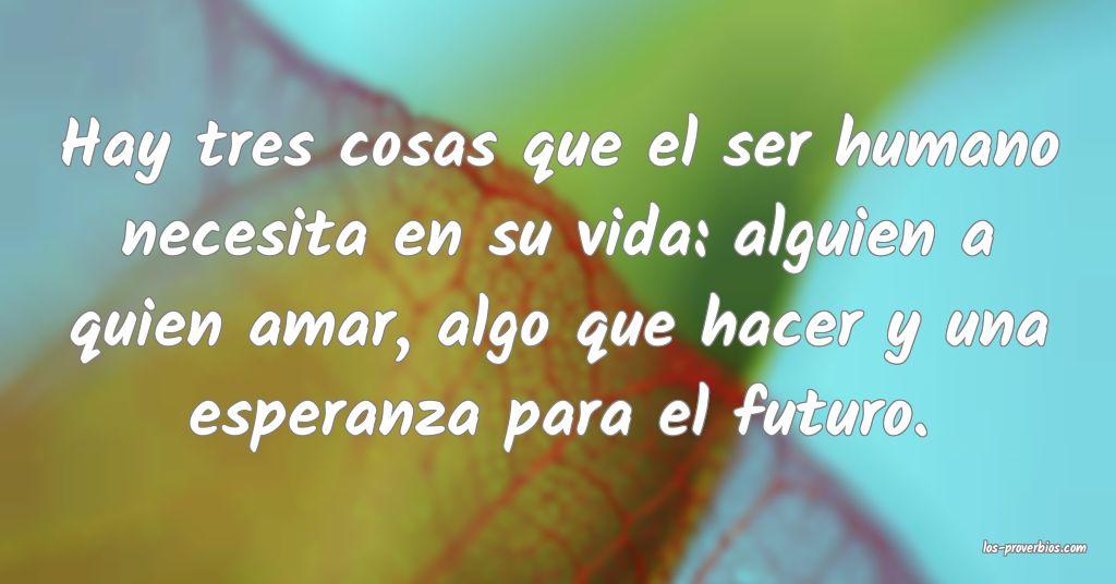 Hay tres cosas que el ser humano necesita en su vida: alguien a quien amar, algo que hacer y una esperanza para el futuro.
