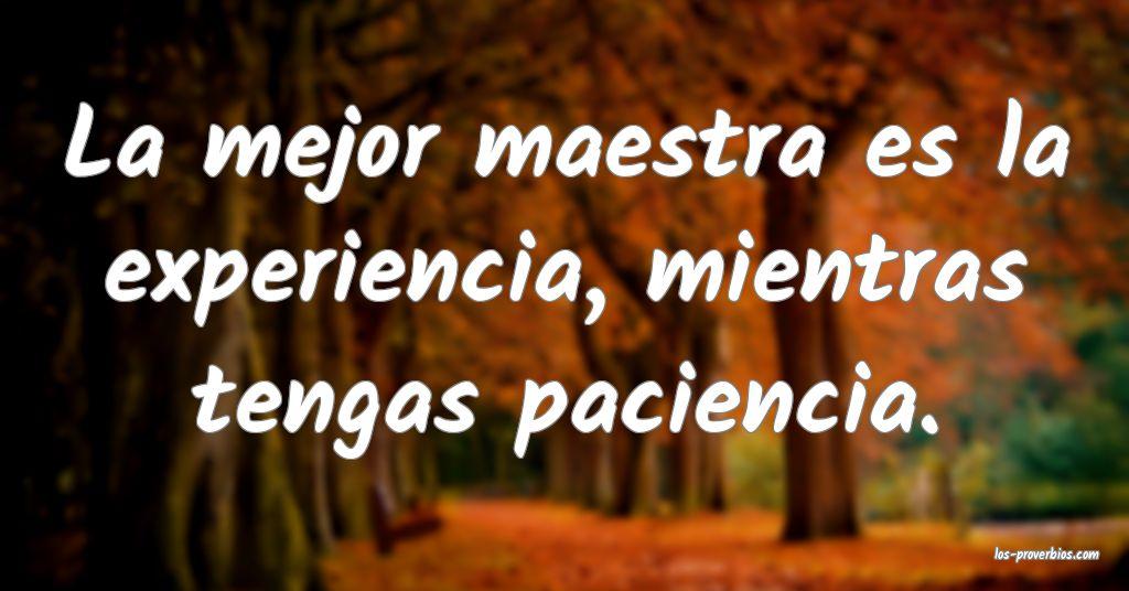 La mejor maestra es la experiencia, mientras tengas paciencia.