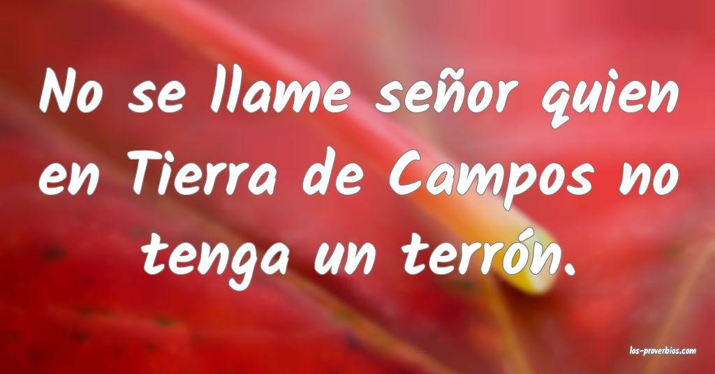 No se llame señor quien en Tierra de Campos no tenga un terrón.