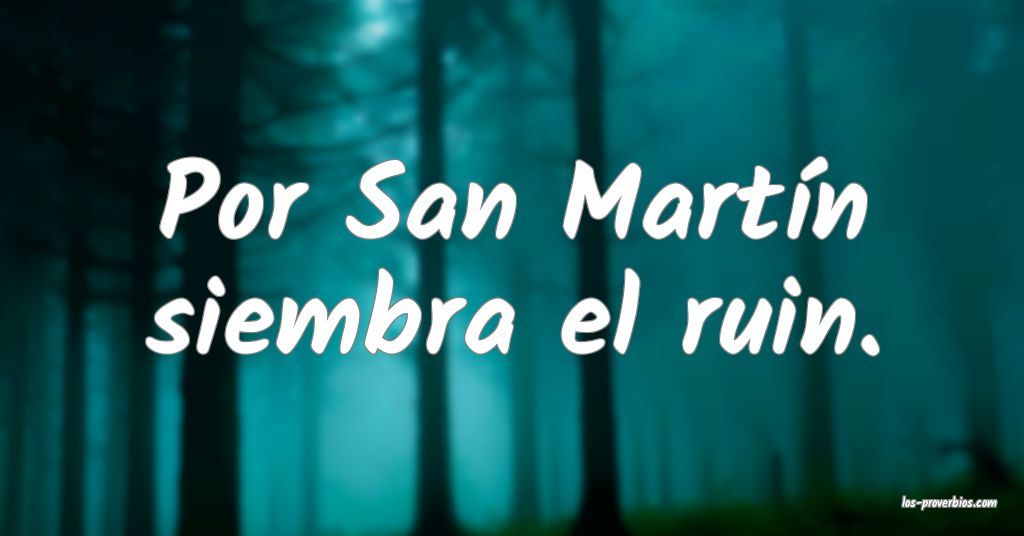 Por San Martín siembra el ruin.